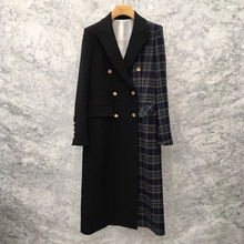 New Korean casual Plaid stitching small suit jacket, mid-long slim chic suit jacket