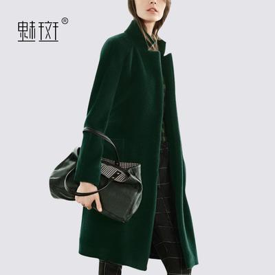 魅斑2018冬装新款时尚修身毛呢外套女中长款欧美时尚气质呢子大衣