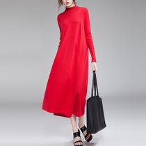 2018秋季新款针织连衣裙女毛衣过膝长裙长袖宽松大码中长款打底裙