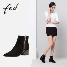 fed2017秋冬新款时尚绒面粗跟短靴 舒适尖头时装靴女靴1883677