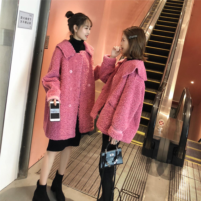 2018冬季新款韩版闺蜜装大翻领玫红色中长款羊羔绒chic外套女装