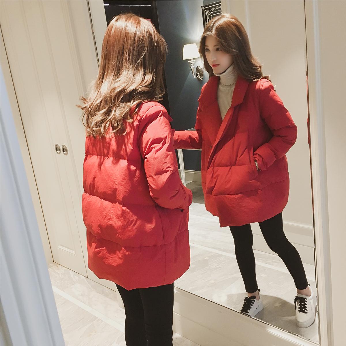 韩版冬季中长款红色chic棉衣5元优惠券