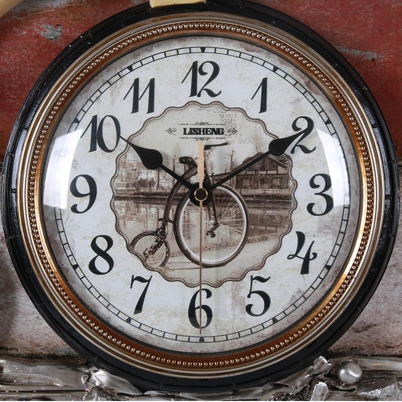 丽盛欧式电表箱装饰画壁挂钟客厅无框画时钟挂表静音自行车钟表