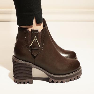 2017冬季新款棉女鞋马丁靴女英伦风靴子秋金属扣加绒粗跟高跟短靴