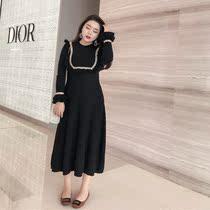 大码连衣裙女胖mm2018新款复古气质显瘦遮肚子修身打底针织长裙子