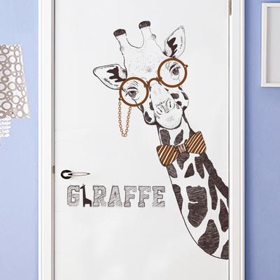个性客厅沙发背景墙ins艺术墙贴纸创意卧室书房时尚长颈鹿门贴画