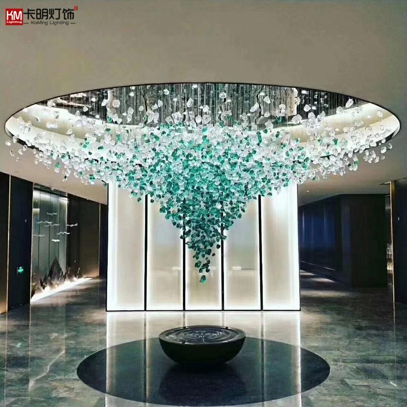 石头飞鸟冰块蝴蝶枫叶羽毛玻璃吊灯售楼中心沙盘艺术灯具厂家订制