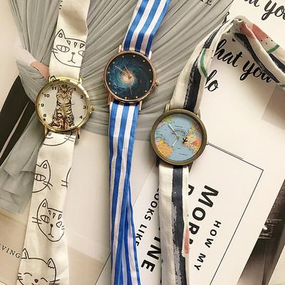 学院风手表女中学生绑带韩版简约潮流ulzzang猫咪森系腕表