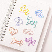 Effective cute paper clip creative cartoon color metal paper clip cute small fresh office student bookmark paper Korean stationery retro gift thickening back needle binding