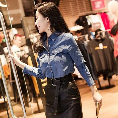 牛仔衬衫女长袖中长款韩版显瘦新款衬衣打底修身2018春款韩范上衣