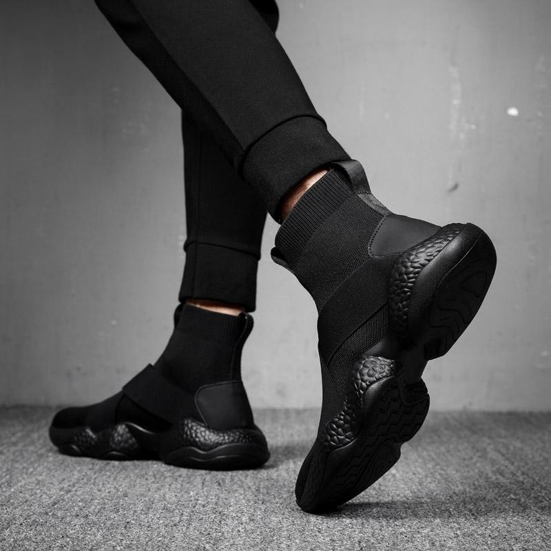 2019新款男袜子鞋高帮运动男鞋潮鞋百搭网红鞋子韩版潮流春季弹力图片