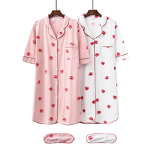 2008 Sleeping Skirt Female Summer Pure Cotton Strawberry Printed Home Skirt Open-collar All-cotton Mid-skirt Sleepwear Eye Shield