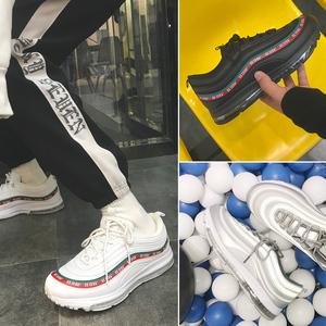 方少男装 春季男士3M字母印花潮流休闲鞋韩版学生透气厚底跑步鞋