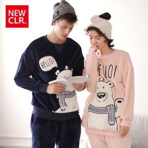 情侣睡衣秋冬季珊瑚绒男女加厚长袖小熊图案保暖可外穿家居服套装