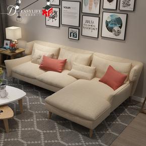 北欧简约沙发小户型布艺棉麻布艺沙发组合可拆洗布沙发家具组合