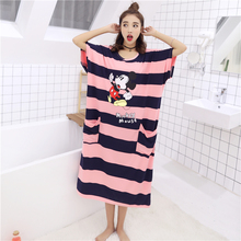 Cute Sleeping Skirt Female Summer Sleeve Fattening Dress Large Size Loose Sleepwear Pregnant Women's Home Clothes with 200 Kinds of Sleepwear