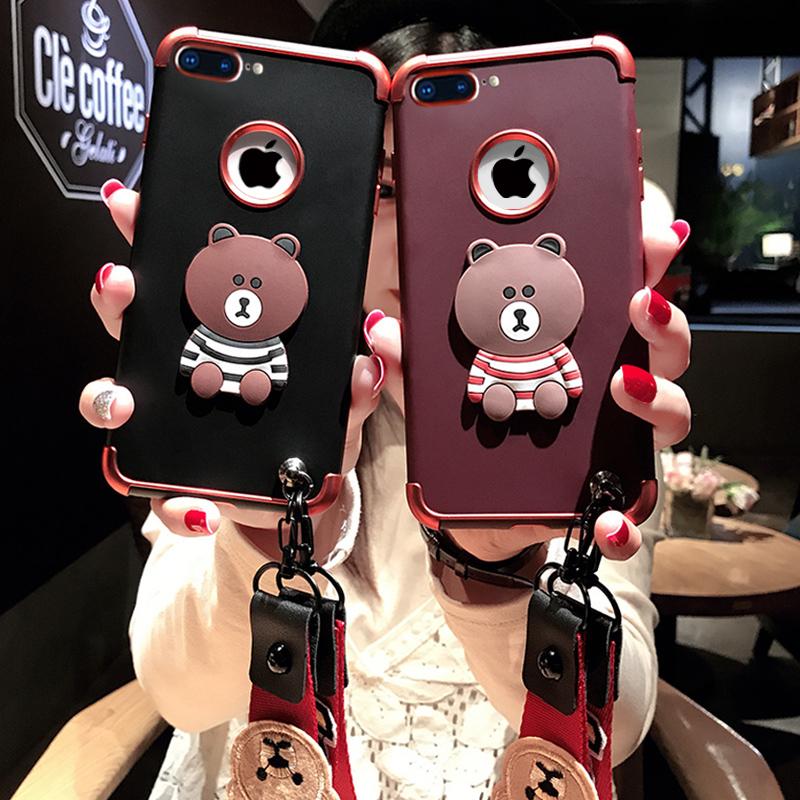 苹果6手机壳iPhone6plus韩国6s软硅胶挂绳7p全包防摔8plus潮牌女款个性创意六新款x卡通ins网红同款七可爱八
