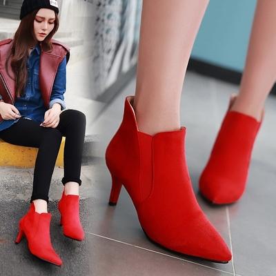 秋冬季女士红色结婚鞋子尖头细跟婚靴孕妇新娘红鞋高跟婚礼鞋短靴