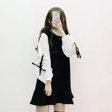 秋装女2018新款时尚甜美袖口系带拼接撞色高领长袖连衣裙潮裙子萌