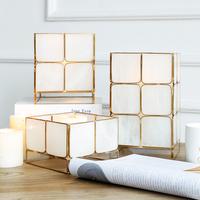 北欧创意时尚风灯金属样板房软装玻璃蜡烛台家居装饰品工艺品摆件