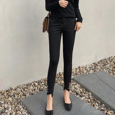 定制蓝语大码女装胖mm2018秋冬新款黑色显瘦时尚不规则脚口牛仔裤