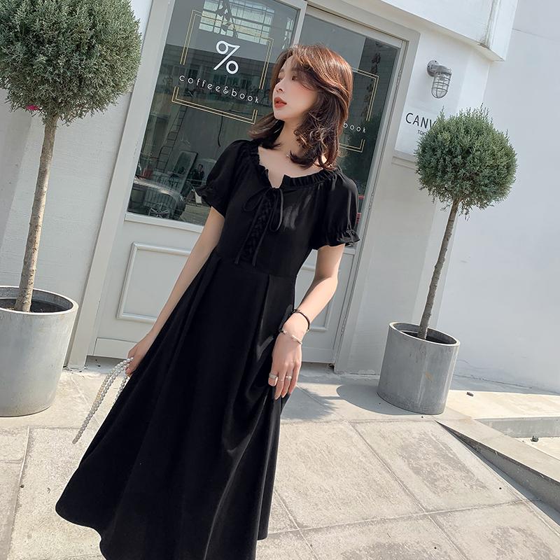 大码女装2019新款气质显瘦小黑裙胖妹妹mm夏装法式遮肚藏肉连衣裙