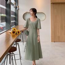 蓝语大码女装2019夏装新款胖妹妹mm气质方领法式显瘦遮肚子连衣裙