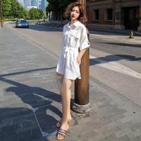 连体裤女夏季2018新款女装韩版显瘦高腰学生工装白色短裤阔腿裤子