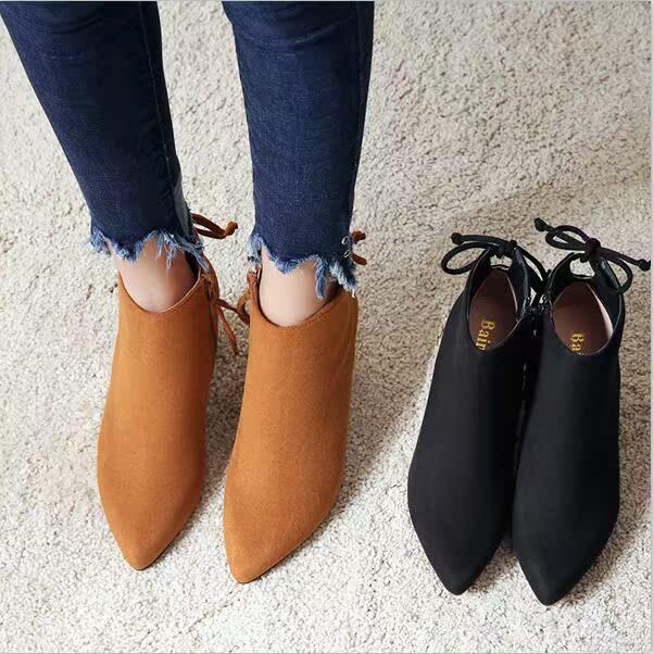 杨幂同款sw尖头高跟短靴女粗跟靴子百搭英伦风马丁靴真皮裸靴单靴