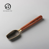Ebony teaspoon tea spoon alloy woven tea shovel solid wood tea tea spoon tea set tea ceremony six gentlemen accessories