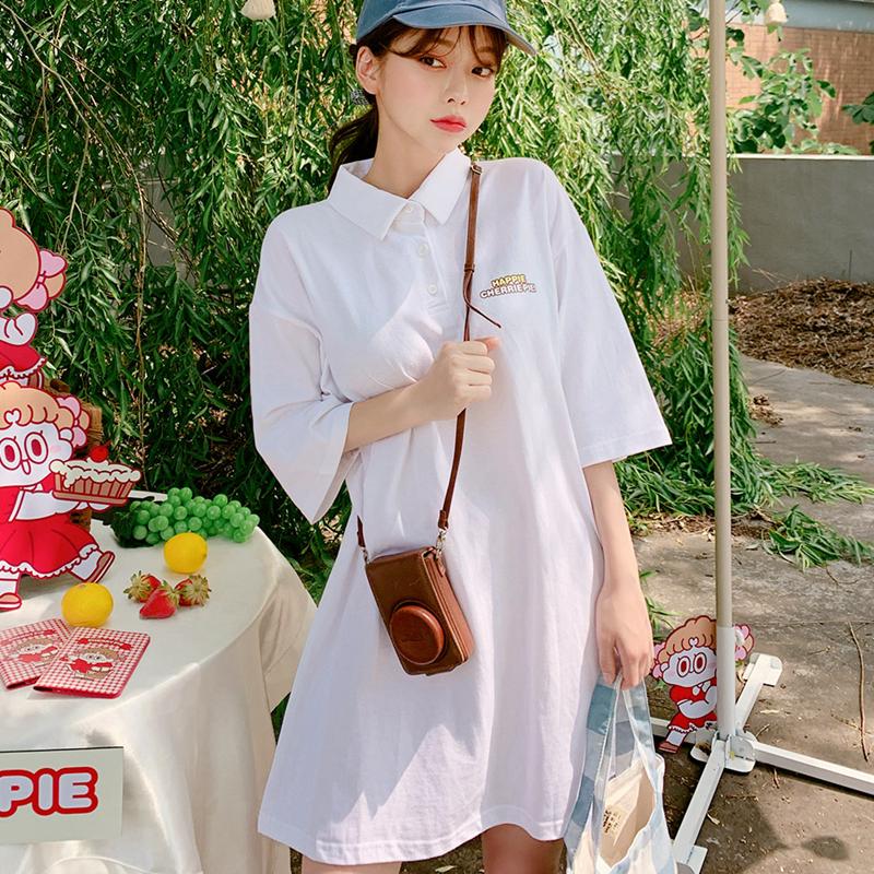 韩国chuu正品代购LEEGONG联名新款下衣失踪中长宽松polo领短袖T恤