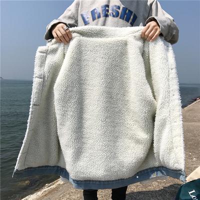 羊羔毛棉服牛仔外套女秋冬2018新款韩版学生宽松加绒加厚棉袄上衣