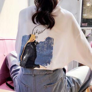 韩版ulzzang长袖t恤女春装新款圆领百搭宽松显瘦卡通印花学生上衣