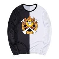 海贼王卡通周边长袖T恤海贼团标志印花男士春秋季加大肥胖子衣服