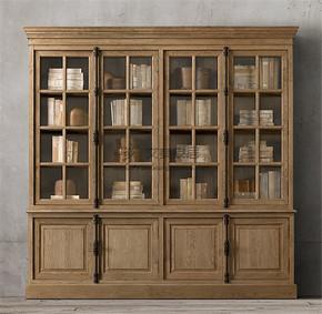 定制美式乡村简约复古做旧全实木原木四门玻璃门书柜大书橱定做