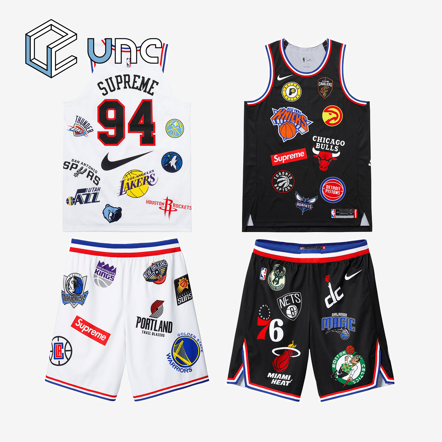 UNC Supreme 18SS Nike NBA Teams 球衣 球裤 黑白