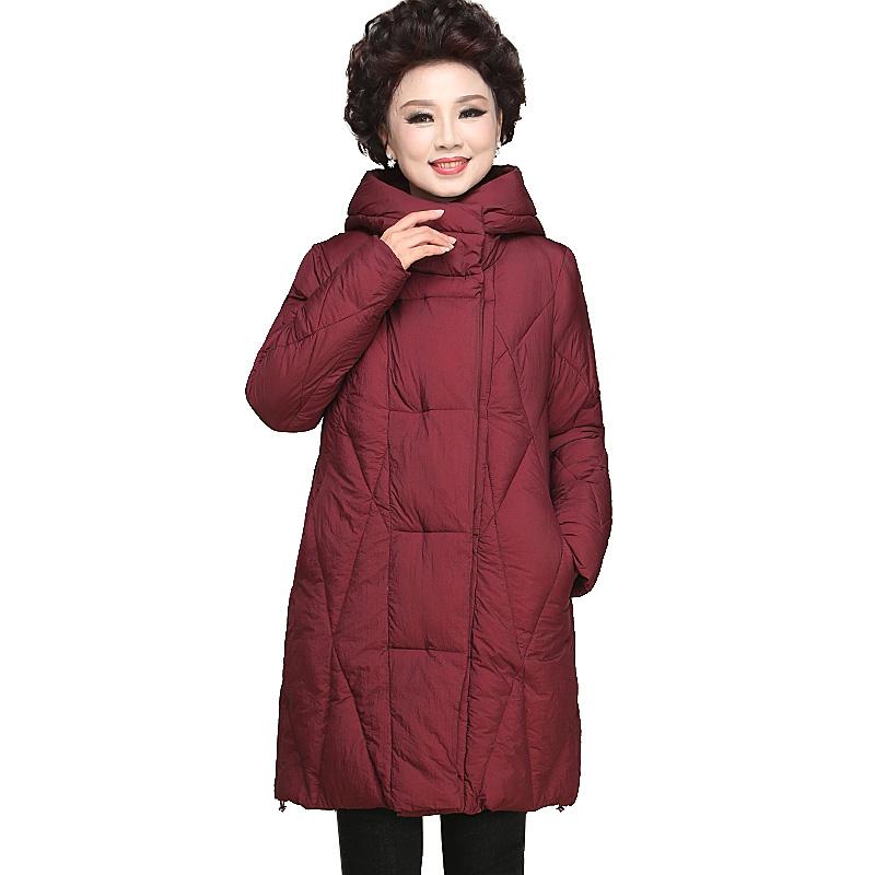 妈妈秋冬装新款外套女中长款中年大码羽绒棉服中老年女装棉衣棉袄