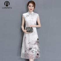 2018夏季新款时尚中国风改良版短袖旗袍中长款复古优雅女士连衣裙