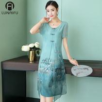 2018夏季新款女时尚低领日常中长款短袖中国风改良奥黛旗袍连衣裙