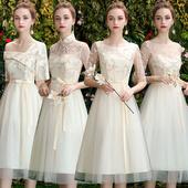 伴娘服2019新款 小礼服 春香槟色婚礼姐妹团礼服女显瘦仙气质闺蜜装