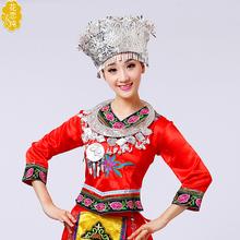 少数民族苗族银饰服饰头饰侗族瑶族苗族成人演出服苗银帽子项圈