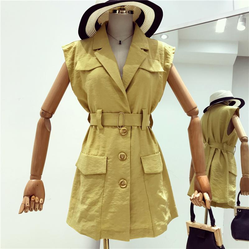 无袖西装领马甲女中长款2018新款夏季韩版宽松翻领工装风衣外套