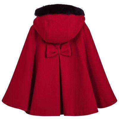 2018秋冬新款女童羊毛呢子斗篷披肩外套中大童加棉保暖毛领披风