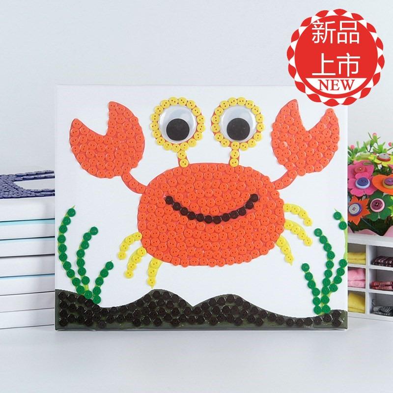 幼兒園創意外貿紐扣畫diy材料包手工制作小班優選粘貼畫兒童寶寶圖片
