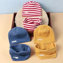 1-6歳の赤ちゃんの春と秋の冬の帽子の男の子と女の子の野生の綿の帽子の襟キット
