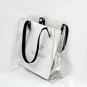 pvc透明包果冻包大容量单肩包手提托特包 ins超火女包韩版 2018新款
