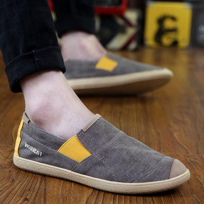 春夏季男士帆布鞋韩版潮流一脚蹬懒人潮鞋老北京布鞋百搭休闲男鞋