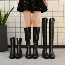 2018秋冬新款前拉链英伦风马丁靴欧美倒靴女骑士靴复古中筒短靴女图片