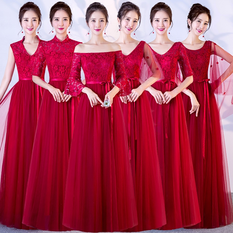 bridesmaid dress long section 2018 new Korean sister group bridesmaid dress skirt female red