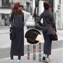 2017韩版秋冬装新款加绒连帽不倒绒长打底大码女装连衣裙卫衣女